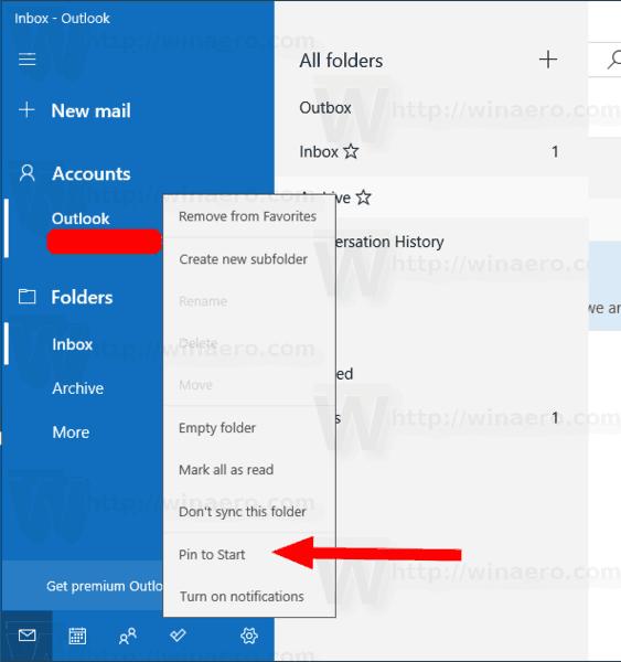 Windows 10 Mail Pin Folder To Start