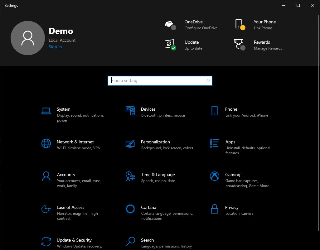 Windows 10 New Settings Page Ver 2