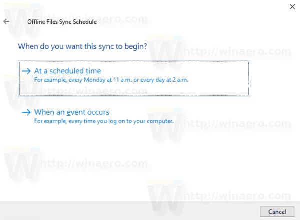Change Offline Files Sync Schedule in Windows 10
