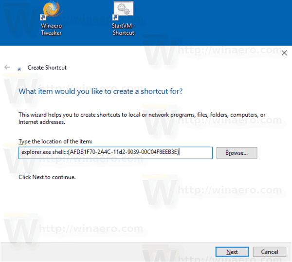 Windows 10 Offline Files Folder Create Shortcut Manually 1
