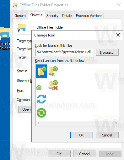 Windows 10 Offline Files Folder Create Shortcut Manually 3