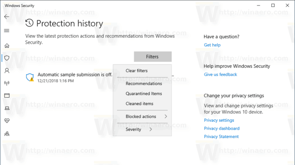 Windows 10 Protection History Page