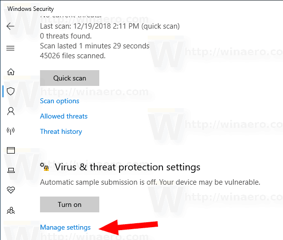 Windows 10 Security Virus Settings