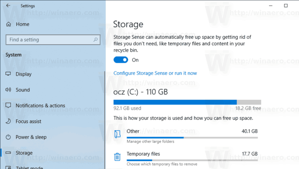 Windows 10 Storage Sense Enabled