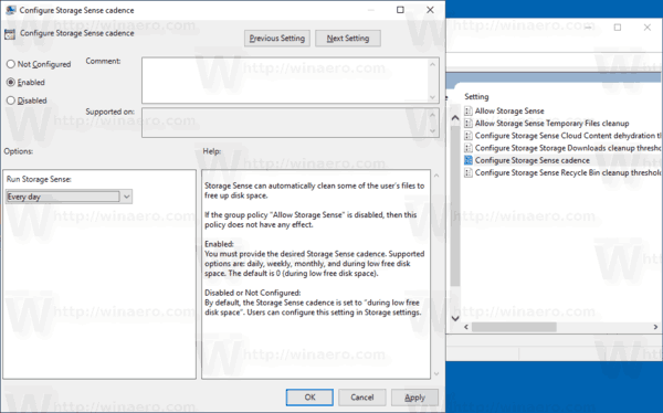 Make Storage Sense Run Automatically in Windows 10 using Group Policy