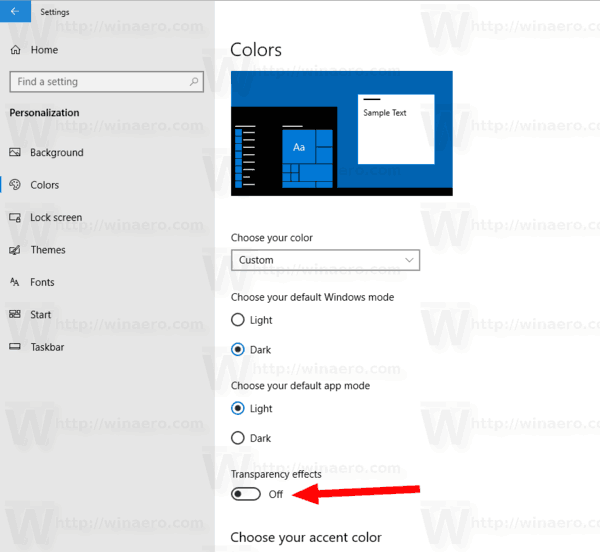 Windows 10 Turn Off Transparency Effects