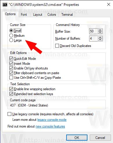 Windows 10 Change Command Prompt Cursor Size