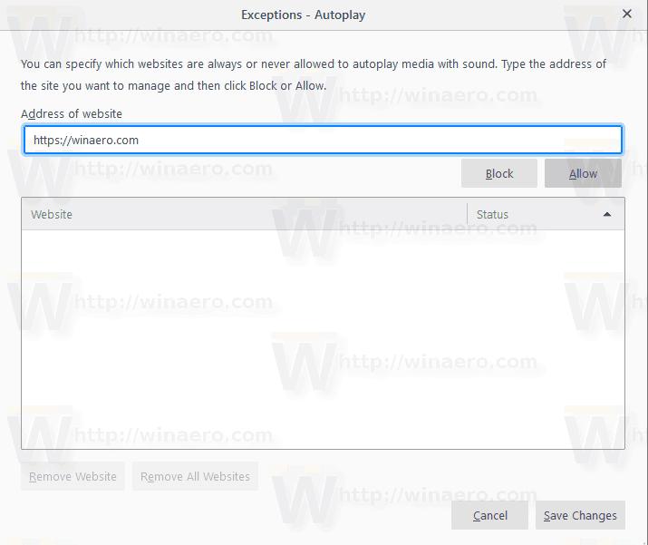 Firefox Autoplay Sound Blocker Exceptions
