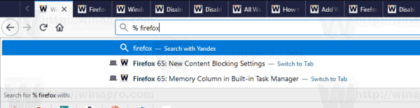 Firefox Search For Tab Filtered