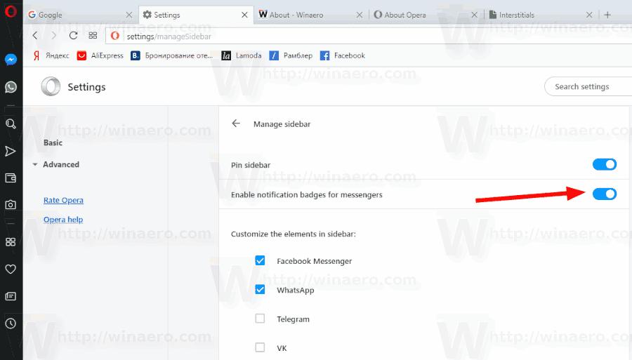 Opera Taskbar Notification Badge Options