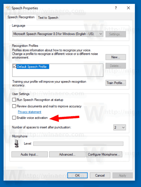Enable Voice Activation for Speech Recognition in Windows 10