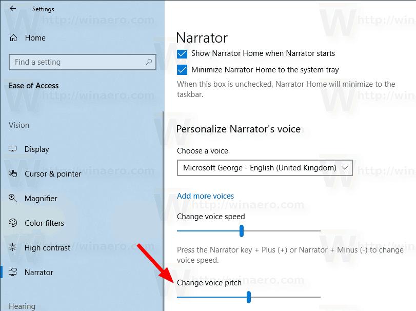 Windows 10 Change Narrator Voice Pitch