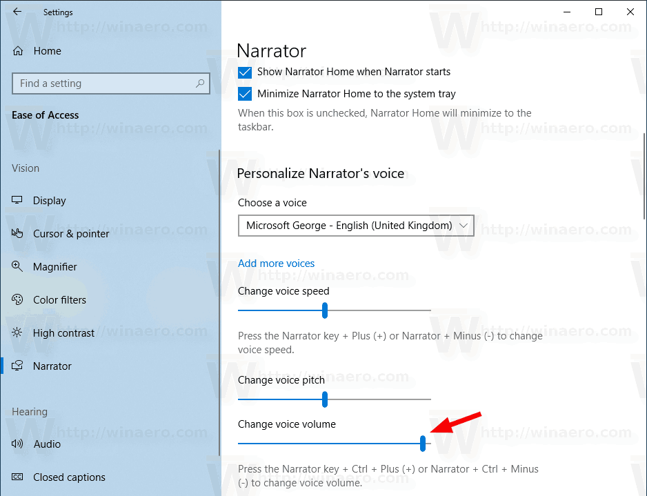 Windows 10 Change Narrator Voice Volume