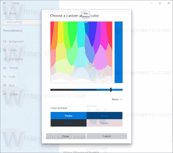 Windows 10 Color Dialog