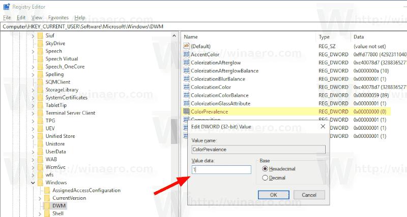 Windows 10 ColorPrevalence
