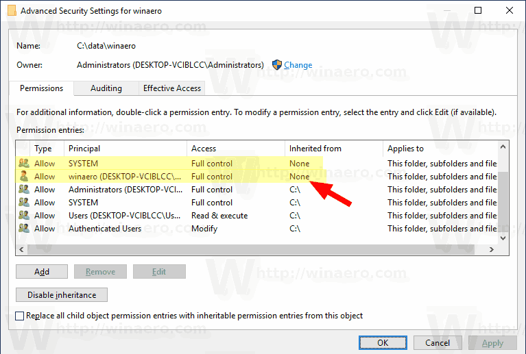 Windows 10 Customized Permissions
