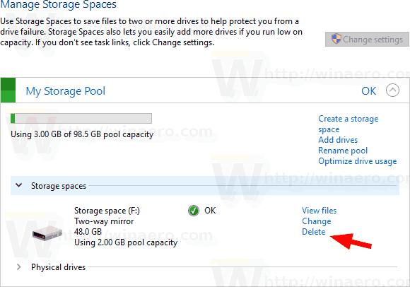 Windows 10 Delete A Storage Pool