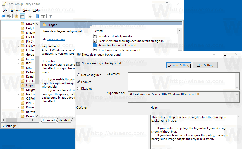 Disable Blur on Sign-in Screen in Windows 10 with Group Policy
