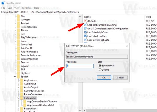 Windows 10 Disable Document Review Speech Recognition