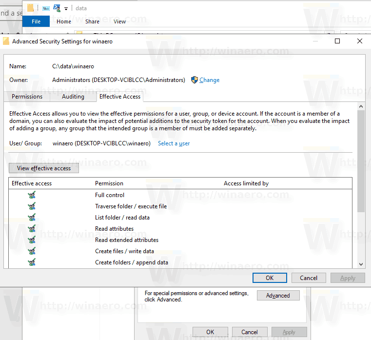 Quickly Reset NTFS Permissions in Windows 10