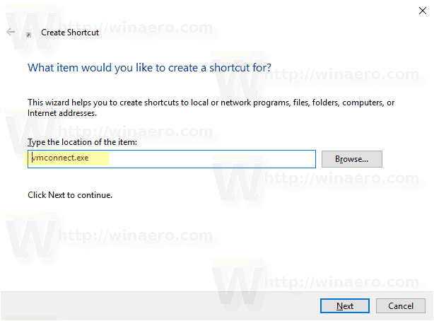 Windows 10 Hyper V Connection Shortcut 1