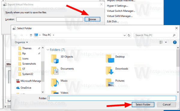 Windows 10 Hyper V Export Select Folder