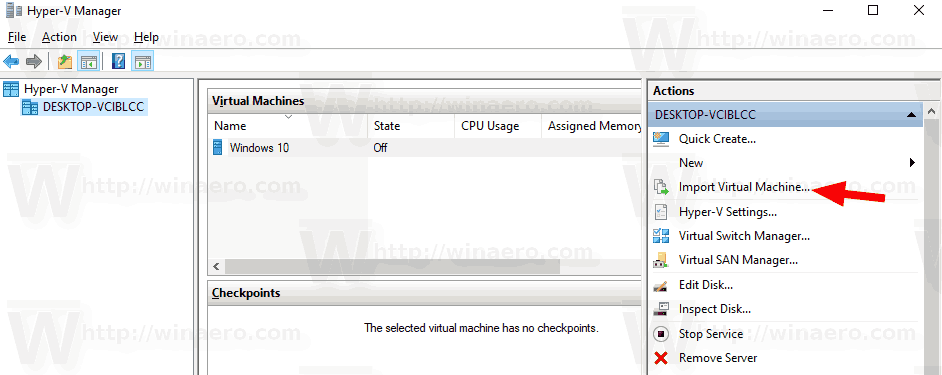 Windows 10 Hyper V Import Machine