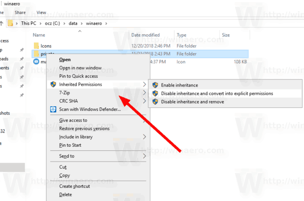 Windows 10 Inherited Permissions