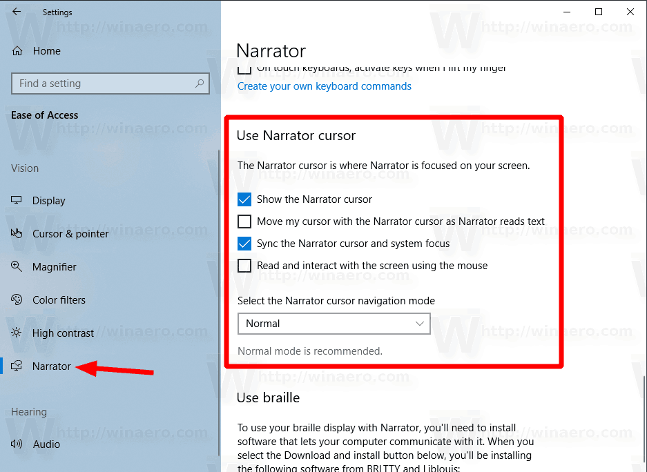 Windows 10 Narrator Cursor Options