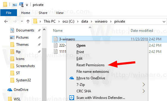 Windows 10 Reset Permissions Context Menu