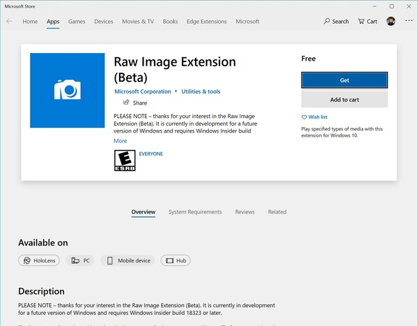 Raw Image Format Codec Microsoft Store