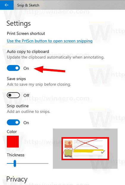 Disable Auto Copy To Clipboard In Snip Sketch