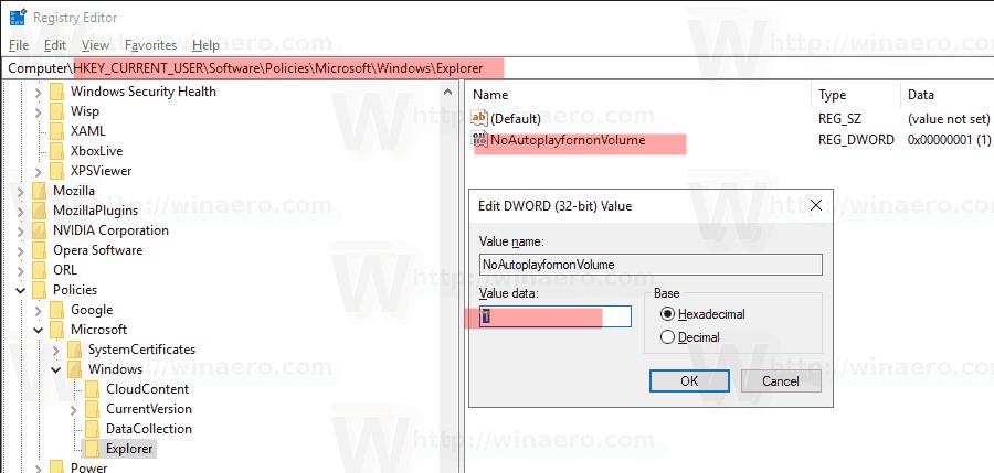Disable Autoplay For Non Volume Drives Tweak