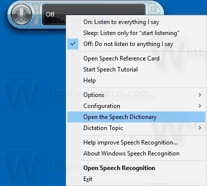 Open The Speech Recognition Dictionary