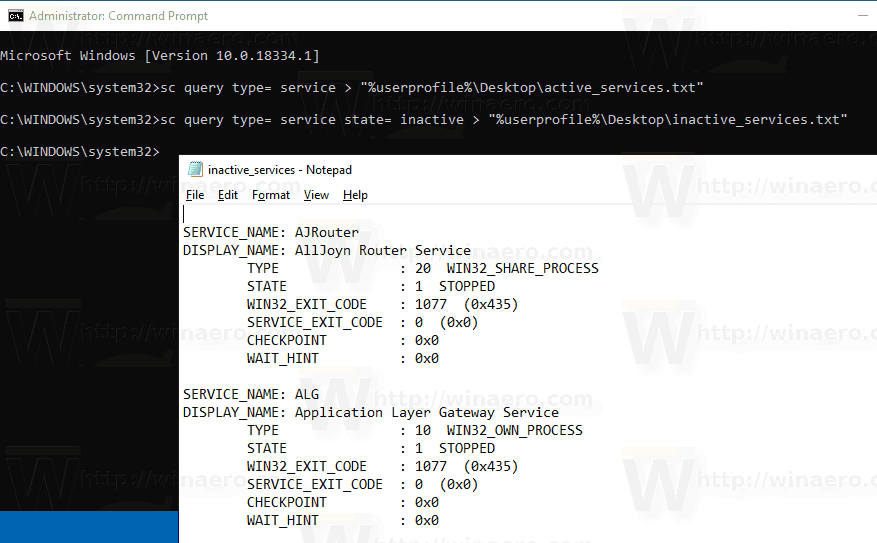 WIndows 10 Save Inactive Services To A File In Windows 10 With Sc