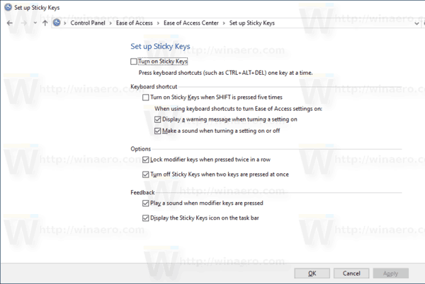 Windows 10 Customize Sticky Keys In Control Panel