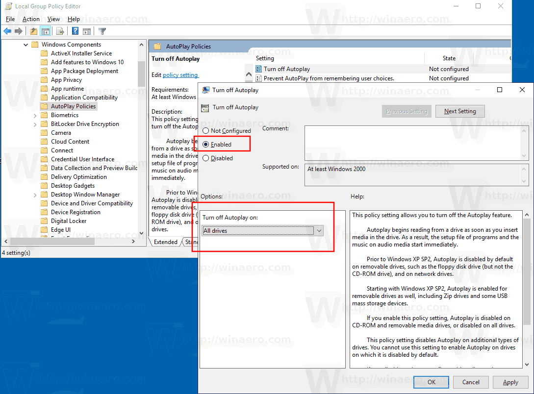 Disable AutoPlay for All Drives in Windows 10