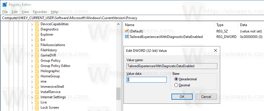 Windows 10 Disable Tailored Experiences Registry