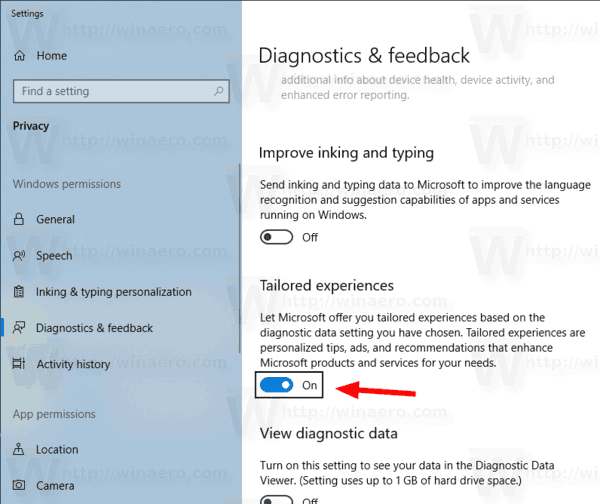 Windows 10 Disable Tailored Experiences Settings