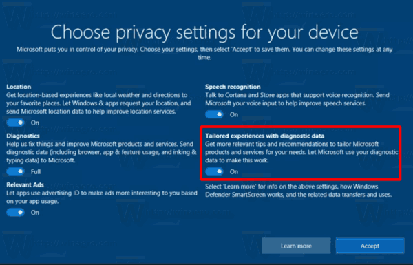Windows 10 Disable Tailored Experiences During Setup