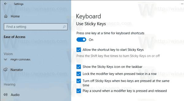 Windows 10 Enable Sticky Keys In Settings