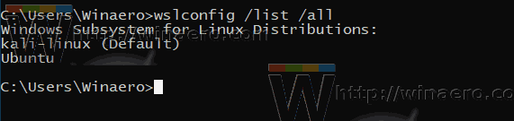 Windows 10 List WSL Distros Wslconfig