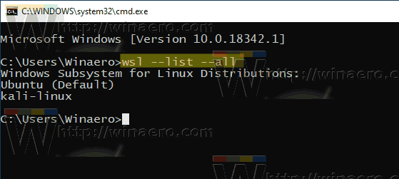 Windows 10 List WSL Distros