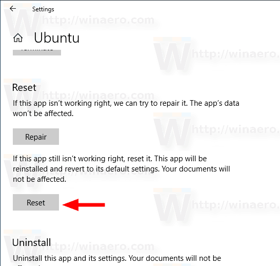 Windows 10 Reset WSL Distro