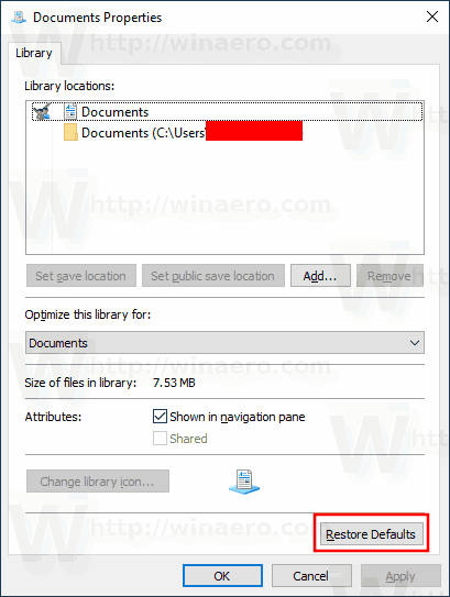 Windows 10 Restore Library Settings