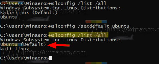 Windows 10 Set Default WSL Distro Wslconfig