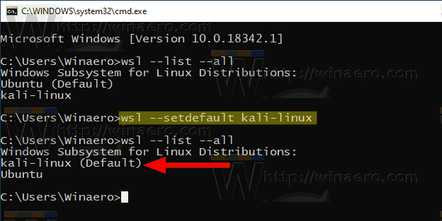 Windows 10 Set Default WSL Distro