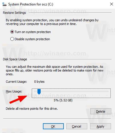 Windows 10 System Restore Max Storage Size 1