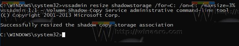 Windows 10 System Restore Max Storage Size 3