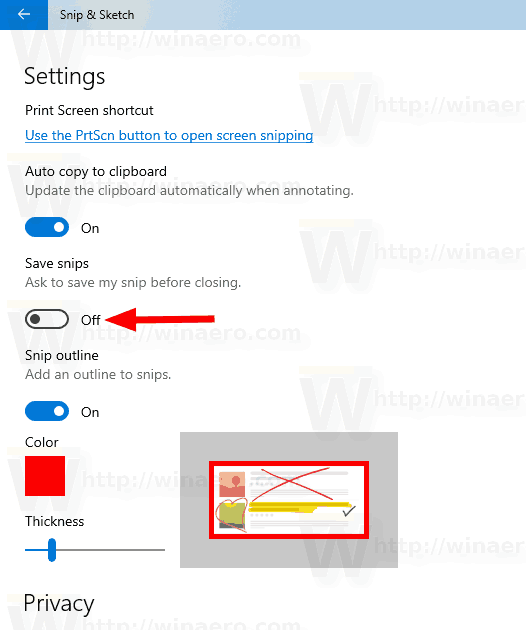Windows 10 Turn Off Ask To Save Snip